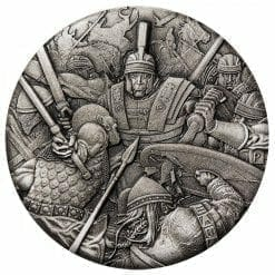 2018 Warfare – Roman Legion 2oz .9999 Silver Antiqued High Relief Rimless Coin